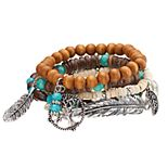Mudd® Tree of Life, Leaf & Feather Charm Beaded Stretch Bracelet Set