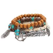 Mudd® Tree of Life, Leaf & Feather Charm Beaded Stretch Bracelet Set