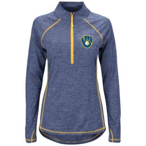 Women's Majestic Milwaukee Brewers Don't Stop Trying Pullover