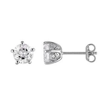 Laura Ashley Sterling Silver White Topaz Stud Earrings