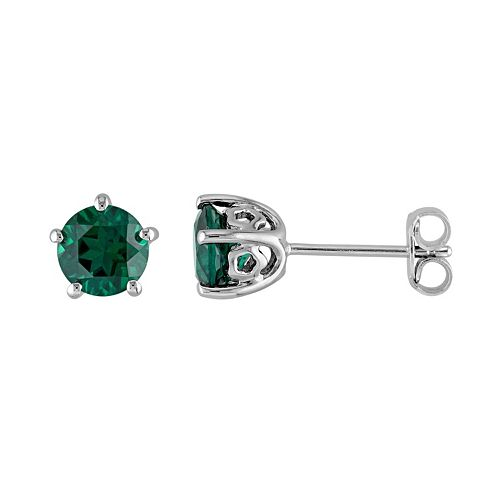 Laura Ashley Sterling Silver Lab Created Emerald Stud Earrings