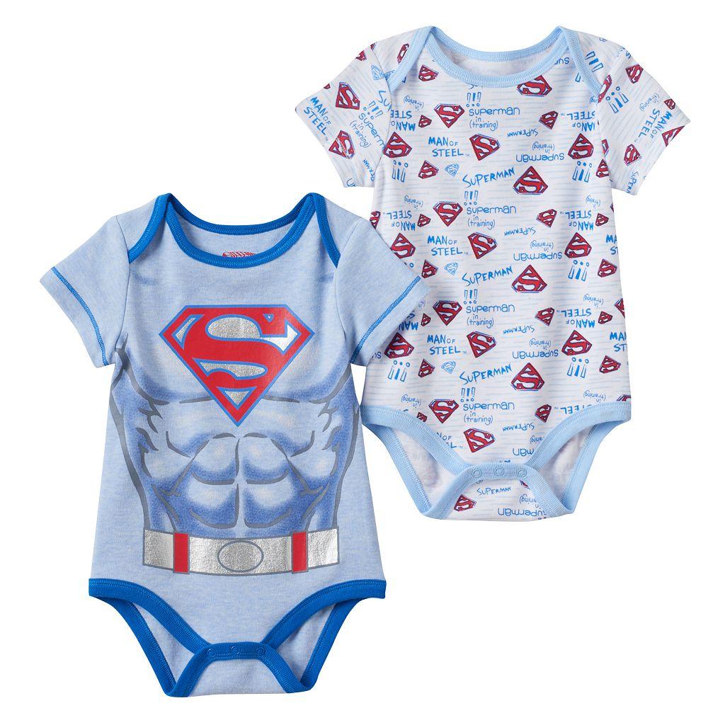 Baby Boy DC Comics Superman 2-pk. Graphic & Print Bodysuits
