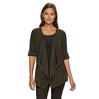 Women's Dana Buchman Lurex Striped Mock-Layer Cardigan