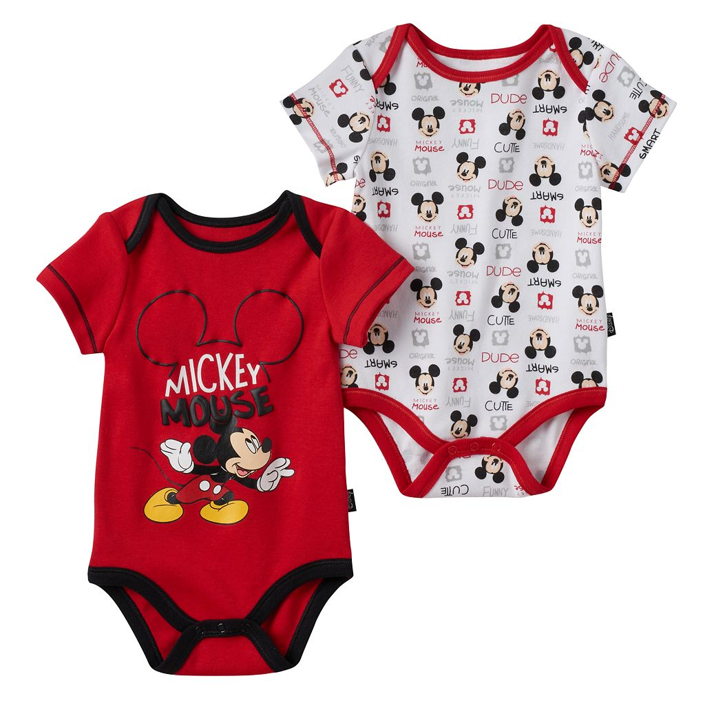 Disney's Mickey Mouse Baby Boy 2-pk. Graphic & Print Bodysuits