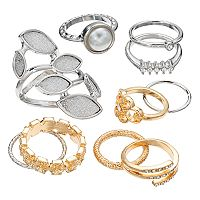 Mudd® Two Tone Glittery Marquise, Filigree & Split Band Ring Set