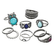 Mudd® Simulated Turquoise Owl, Textured & Cabochon Ring Set