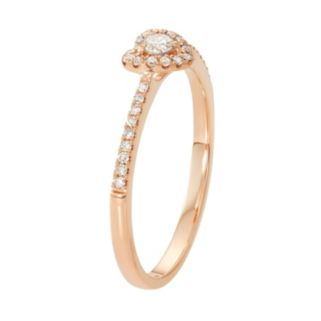 10k Rose Gold 1/4 Carat T.W. Diamond Heart Promise Ring