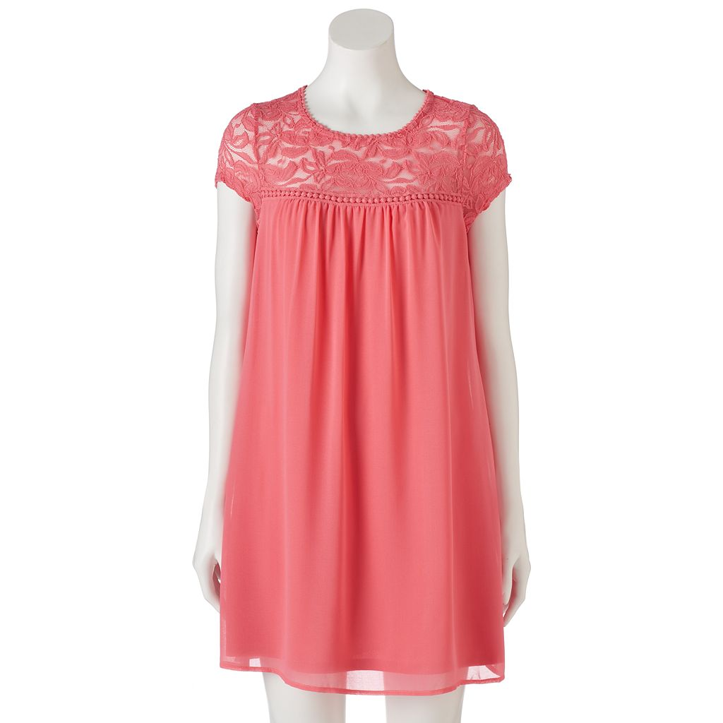 Juniors' Lily Rose Lace Yoke Swing Dress