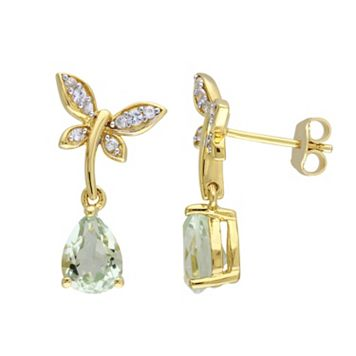 Laura Ashley Yellow Sterling Silver Amethyst & White Sapphire Dragonfly Drop Earrings