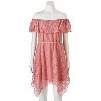 Juniors' Lily Rose Off The Shoulder Lace Dress