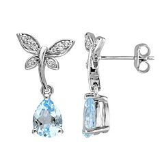 Laura Ashley Sterling Silver Topaz & White Sapphire Dragonfly Drop Earrings