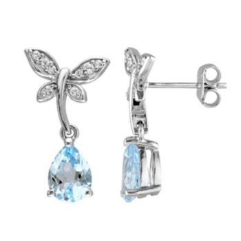 Stella Grace Laura Ashley Sterling Silver Topaz & White Sapphire Dragonfly Drop Earrings