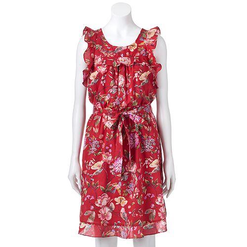 Women's LC Lauren Conrad Floral Ruffle Fit & Flare Dress