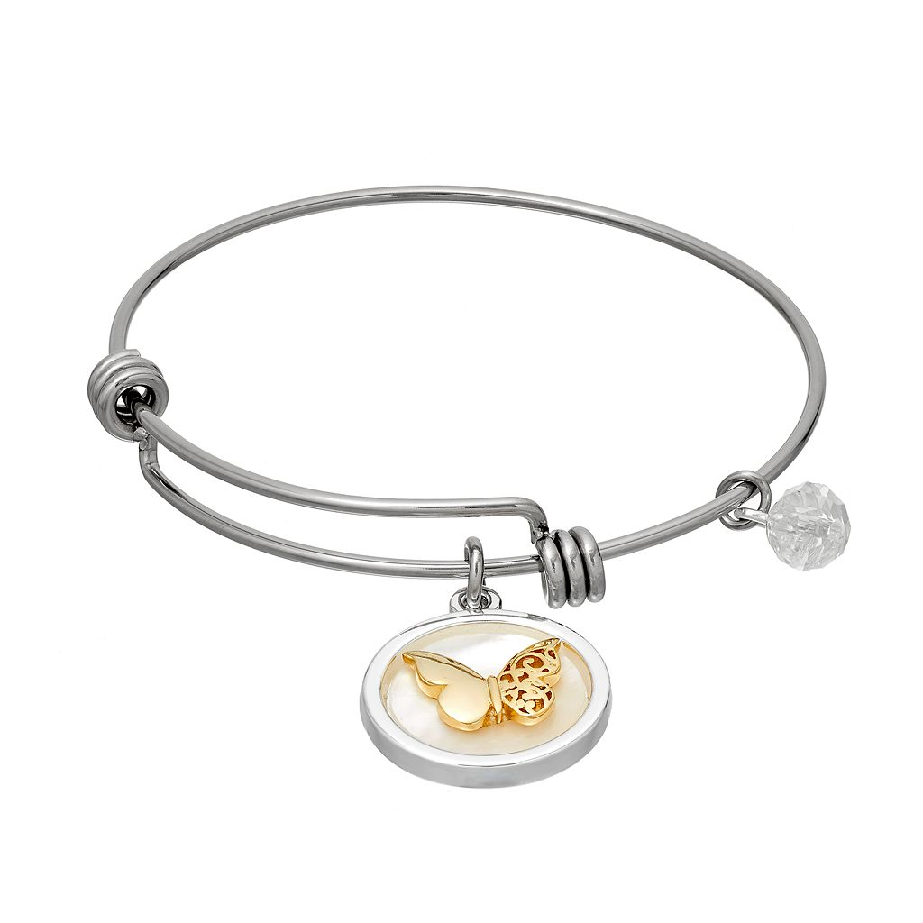 love this life Crystal & Mother-of-Pearl Butterfly Charm Bangle Bracelet