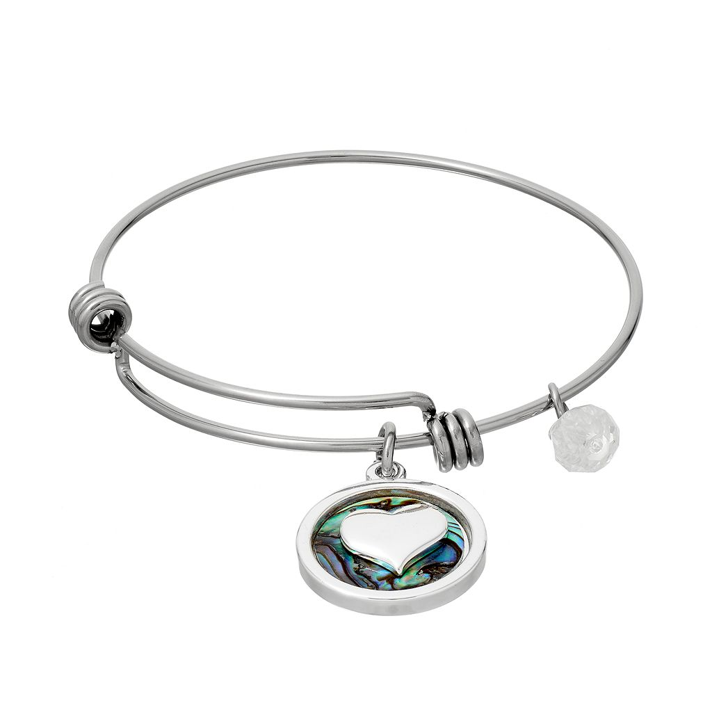 love this life Crystal & Abalone Heart Charm Bangle Bracelet