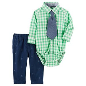 Baby Boy Carter's Gingham Button-Down Bodysuit, Chambray Tie & Anchor Pants Set