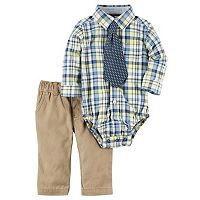Baby Boy Carter's Plaid Button-Down Bodysuit, Printed Tie & Solid Pants Set