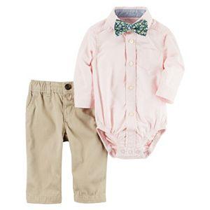 Baby Boy Carter's Button-Down Shirt, Floral Bow Tie & Khaki Pants Set
