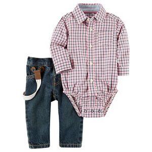 Baby Boy Carter's Plaid Button-Down Bodysuit & Suspender Jeans Set