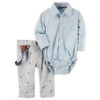 Baby Boy Carter's Striped Button-Down Bodysuit & Sailboat Suspender Pants Set