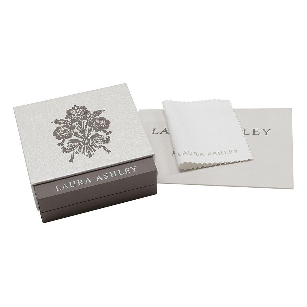 Laura Ashley Two Tone Sterling Silver 1/10 Carat T.W. Diamond Flower Ring
