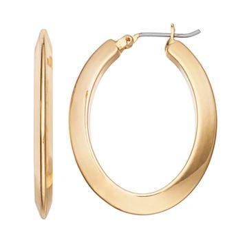 Chaps Beveled Nickel Free Oval Hoop Earrings