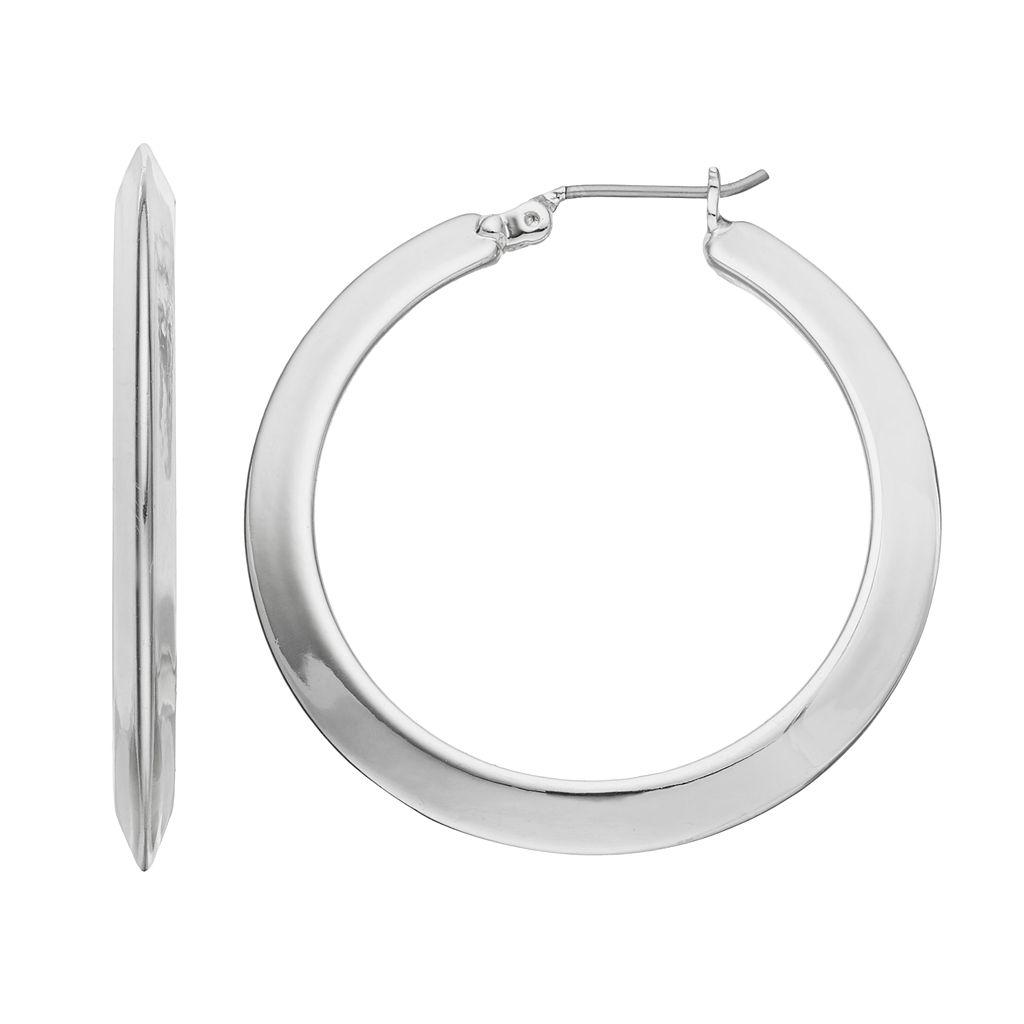 Chaps Beveled Nickel Free Hoop Earrings
