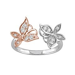Laura Ashley Lifestyles Two Tone Sterling Silver 1/4 Carat T.W. Diamond Butterfly Ring