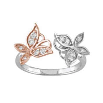 Laura Ashley Two Tone Sterling Silver 1/4 Carat T.W. Diamond Butterfly Ring
