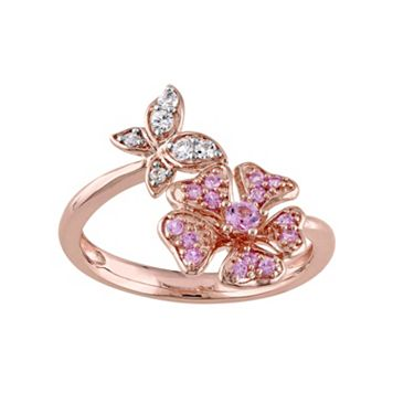 Laura Ashley Sterling Silver Pink & White Sapphire Butterfly & Flower Ring