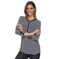 Women's Croft & Barrow® Striped Quarter-Zip Tee