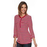 Women's Croft & Barrow® Striped Quarter-Zip Tee