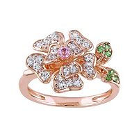 Laura Ashley Sterling Silver Gemstone Flower Ring