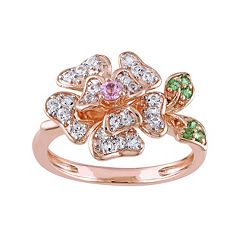 Laura Ashley Lifestyles Sterling Silver Gemstone Flower Ring