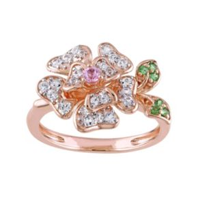 Laura Ashley Sterling Silver Gemstone Flower Ring