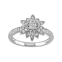 Laura Ashley Sterling Silver White Sapphire Starburst Ring