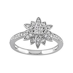 Laura Ashley Lifestyles Sterling Silver White Sapphire Starburst Ring