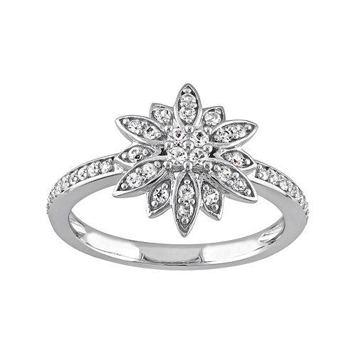Laura Ashley Sterling Silver White Sapphire Starburst Ring