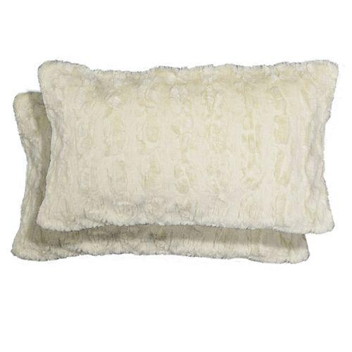 Spencer Home Decor Denham Faux Fur 2-piece Oblong Throw Pillow Set