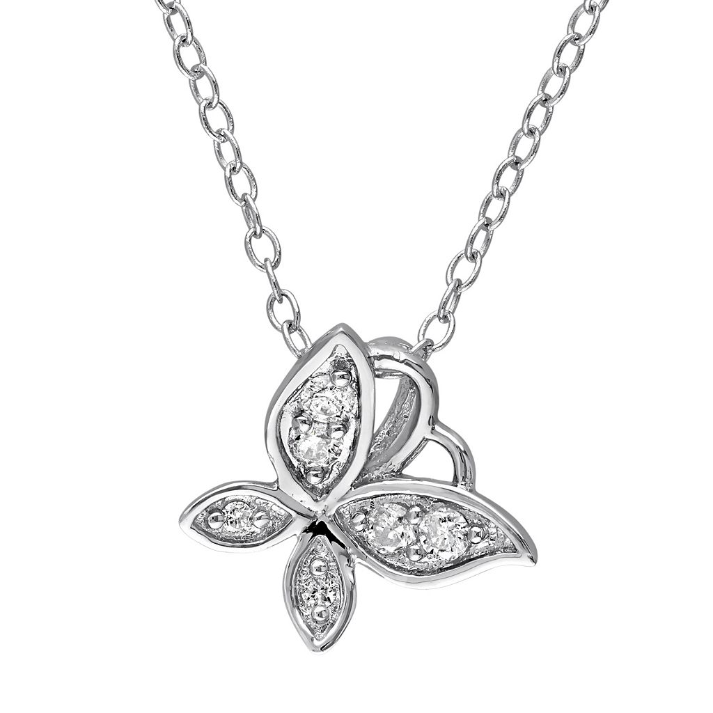 Laura Ashley Sterling Silver 1/8 Carat T.W. Diamond Butterfly Necklace