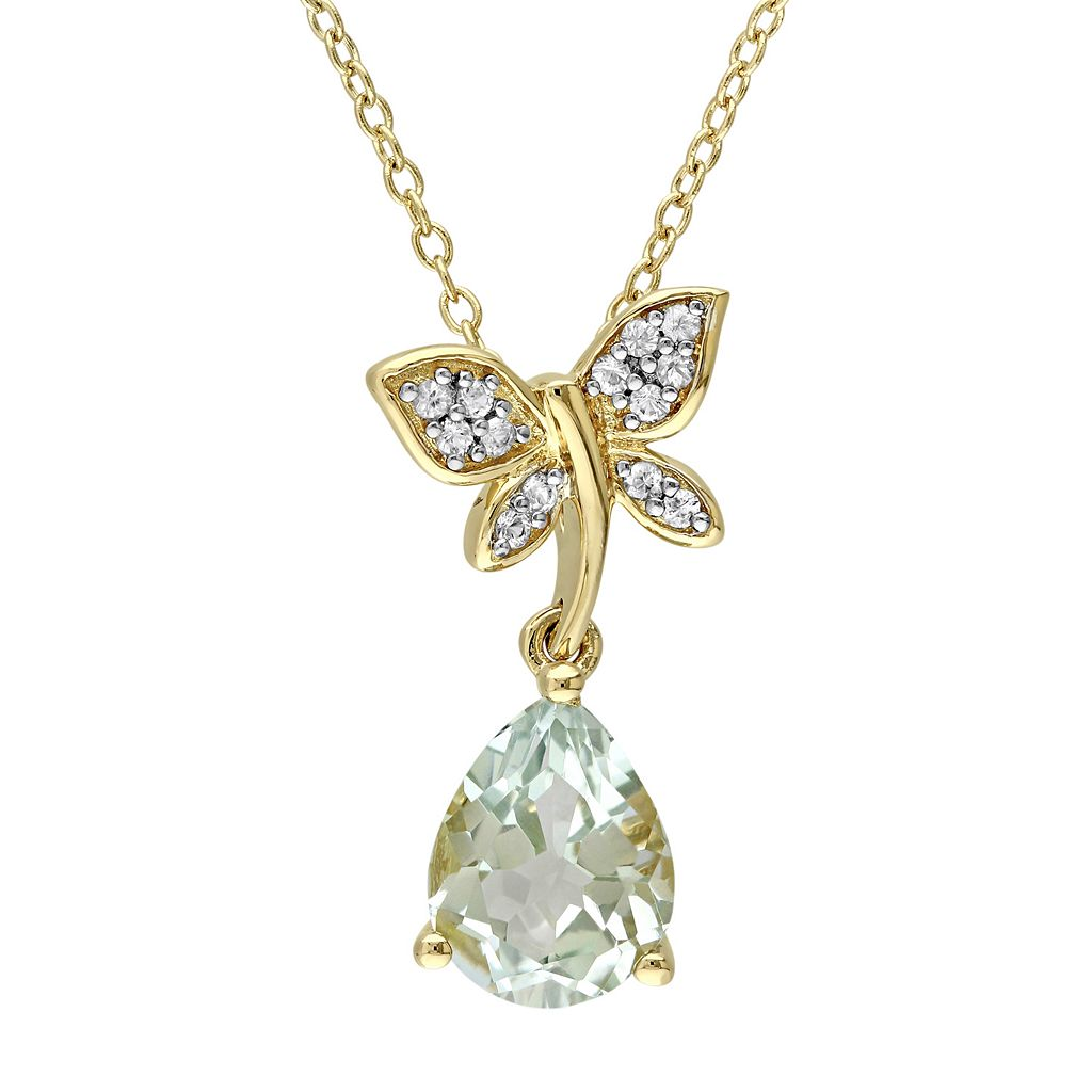 Laura Ashley Sterling Silver Green Quartz & White Sapphire Dragonfly Pendant Necklace