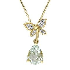 Laura Ashley Lifestyles Sterling Silver Green Quartz & White Sapphire Dragonfly Pendant Necklace