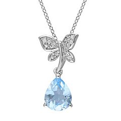Laura Ashley Sterling Silver Blue Topaz & White Sapphire Dragonfly Pendant Necklace