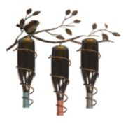 New View Bird & Vine 3-Bottle Metal Wine Rack