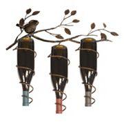 New View Bird & Vine 3-Bottle Metal Wine Rack