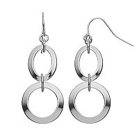 Chaps Round Nickel Free Double Drop Earrings