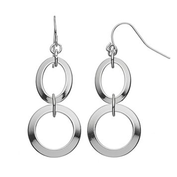 Chaps Round Nickel Free Double Drop Earrings