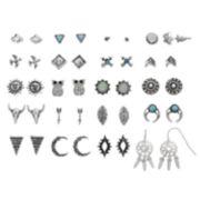Owl, Dream Catcher, Longhorn & Sun Nickel Free Earring Set