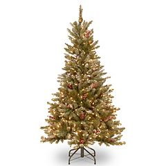 National Tree Company 5-ft. Pre-Lit Dual Color Frosted Mountain Fir Artificial Christmas Tree Floor Decor
