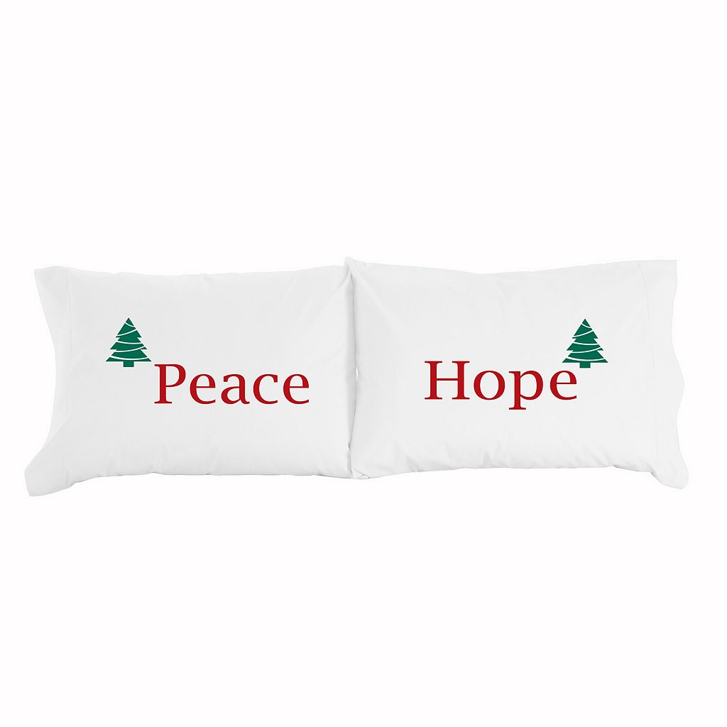 Micro Flannel® 2-pack ''Peace & Hope'' Novelty Christmas Pillowcase Set